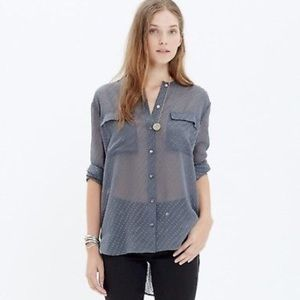 Madewell sheer polka dot blouse